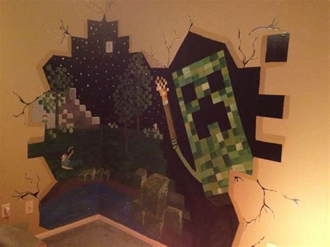 Minecraft Bedroom Murals Minecraft Mural For My Sons Room Caleb