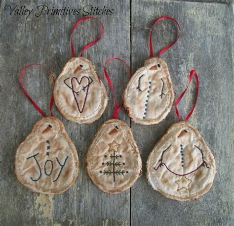 primitive snowman christmas ornaments set of 5 hand