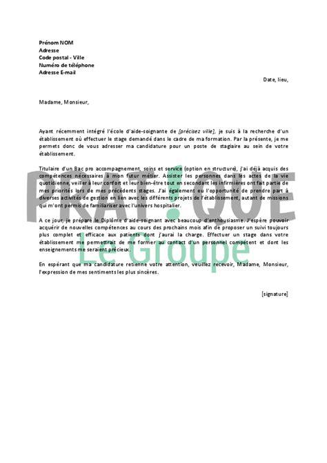 lettre de motivation pour un stage d aide soignante pratique fr