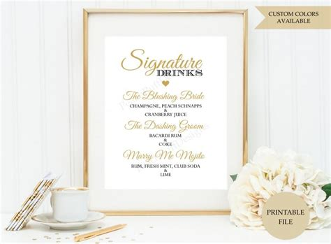signature drink sign printable file signature cocktail