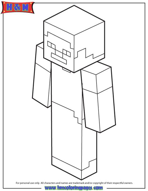 steve on minecraft coloring pages