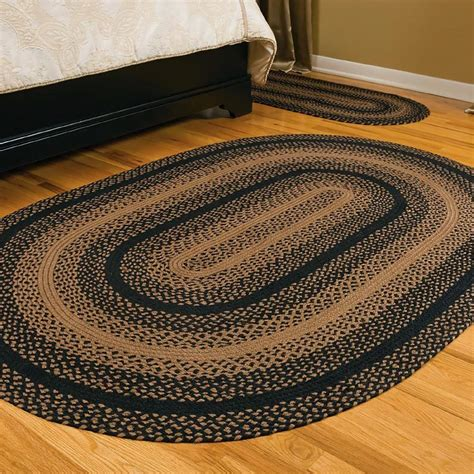 Black And Tan Oval Braided Area Rug Country Primitive 8x10 Black Area Rug