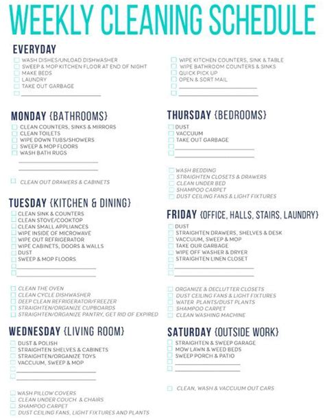 cleaning schedule template for care homes 7 of the best free printable cleaning schedules cleaning