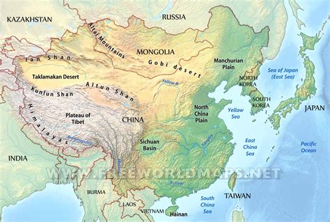 south central asia physical map east asia physical map