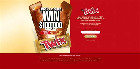 Twix Instant Win Game - twix pick a side instant win game and sweepstakes cookie bar or chocolate bar