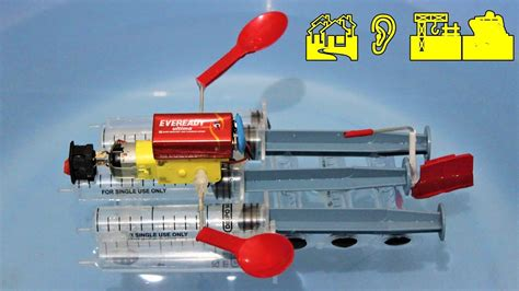 how to make a boat using motor how to make a motor boat using syringe easy youtube