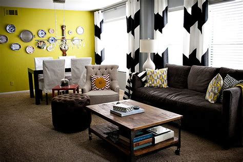chevron living room wide b w chevron curtains acid green plate wall eclectic living room los angeles by