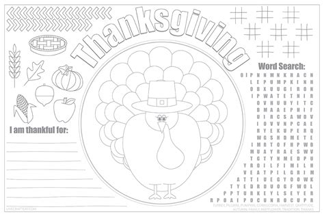 printable thanksgiving placemats for kids free live
