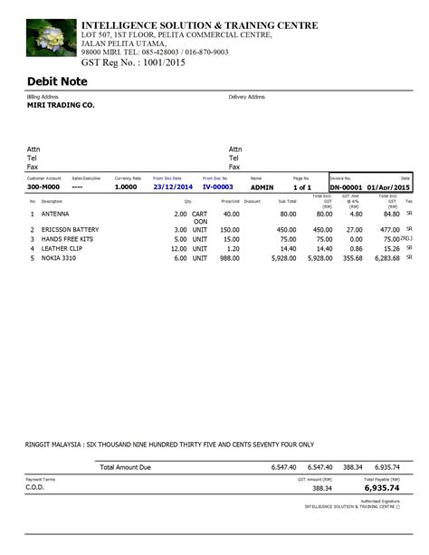 Tax Credit Note Format Malaysia Debit Note Format Images