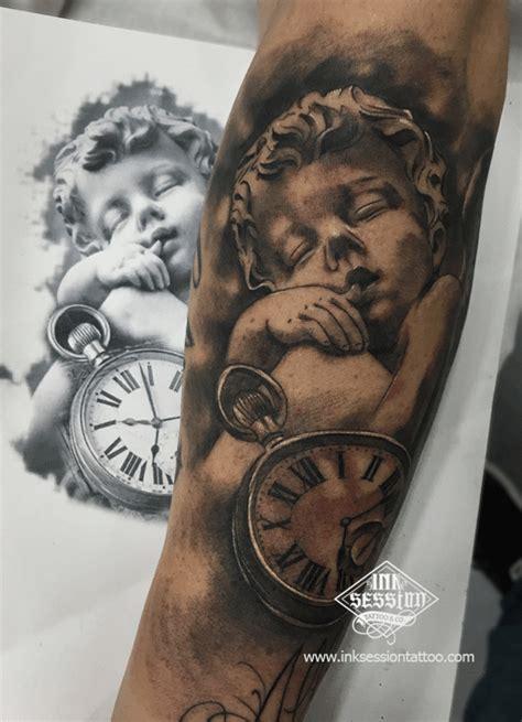 imagenes de tatuajes de querubines angel con reloj de bolsillo