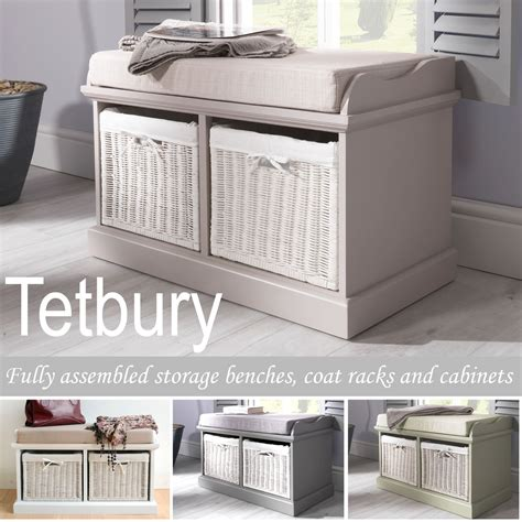 tetbury white storage bench small tetbury bench with 2 white baskets hallway storage bench