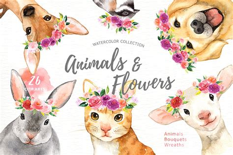 Forest Colorful Flower Crown animals flowers watercolor clipart illustrations