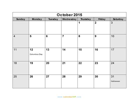 printable calendar october 2015 with holidays october 2015 calendar blank printable calendar template