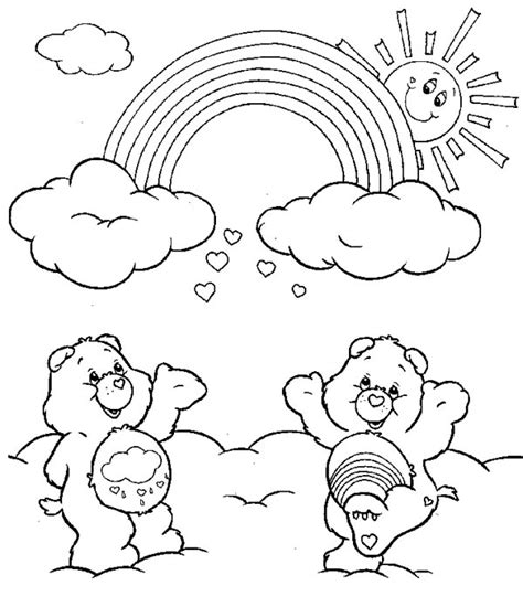 care bears cheering  rainbow coloring page
