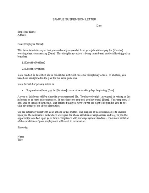 suspension from work letter template sle suspension letter to employee for poor performance