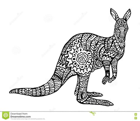 ethnic animal doodle detail pattern kangaroo zentangle