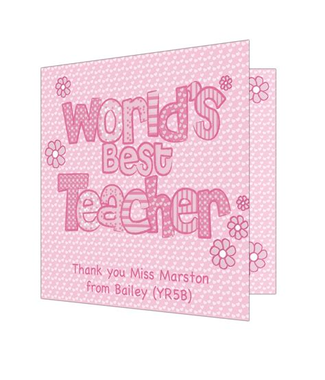 Best Teacher Gift Cards - personalised pink world s best teacher card just for gifts