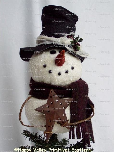 primitive country snowman tree topper pattern primitive snowman tree topper by happyvalleyprimitive