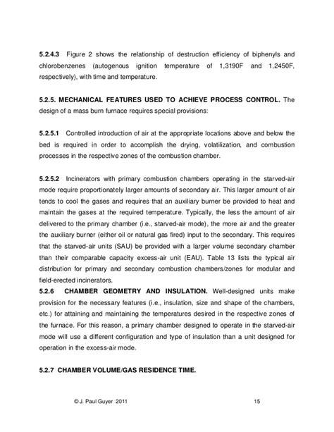 design criteria for incineration intro to solid waste incineration
