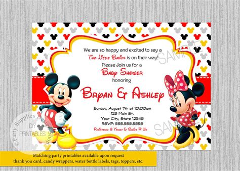 Minnie And Mickey Mouse Baby Shower by Printed Mickey Minnie Baby Shower Invitations Baby
