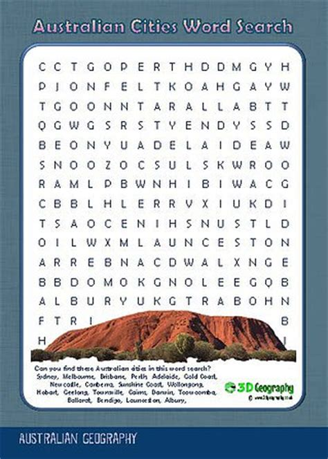 Search In Australia Australia Geography Worksheets