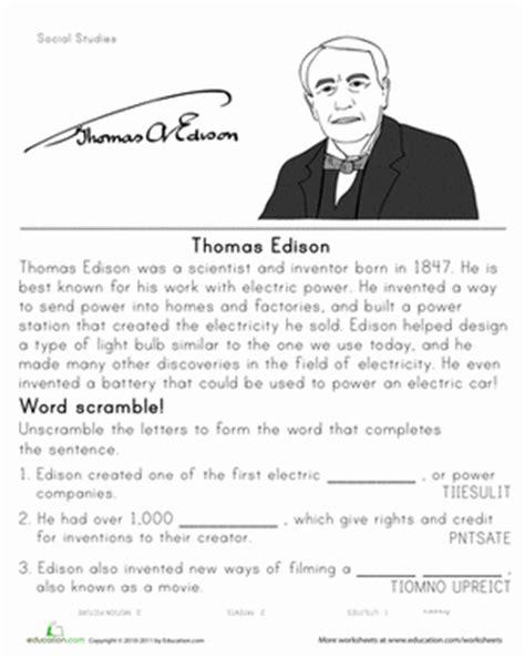 thomas edison biography for middle school historical heroes thomas edison worksheet education com