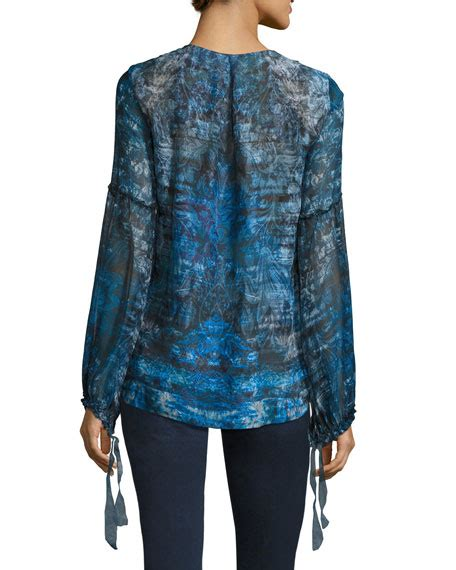 Lace Trim Chiffon Blouse elie tahari avan sleeve lace trim chiffon blouse blue