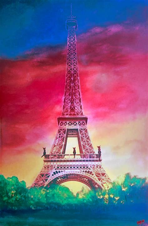 eiffel tower purs original painting