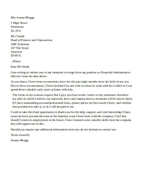 Sle Letter To The Embassy From An Employer Maternity Letter To Employer Template 28 Images 5 Maternity Leave Letter To Employer