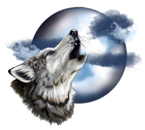 wolf and moon tattoo howling wolf pencil and in color