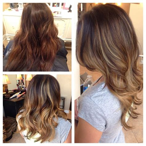 black hair stylist in knoxville tn before after balayage highlights honey ash blonde long