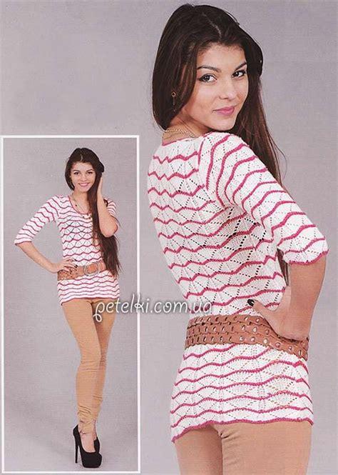 Baju Dress Caq Dress Milka туника спицами волнистым узором описание схемы вязания
