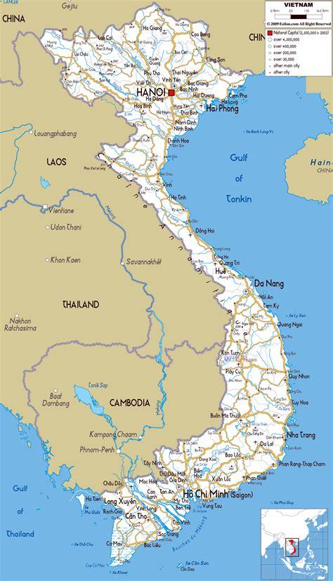 Printable Vietnam Road Map   detailed political and road map of vietnam vietnam