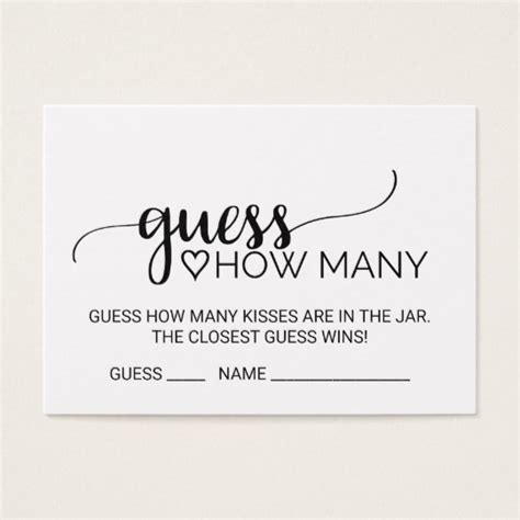 calligraphy card printable template free black calligraphy guess how many kisses cards