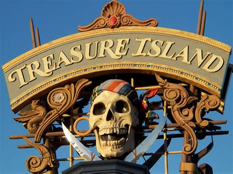 pirate themed hotel vegas the original treasure island sign featuring the skull and