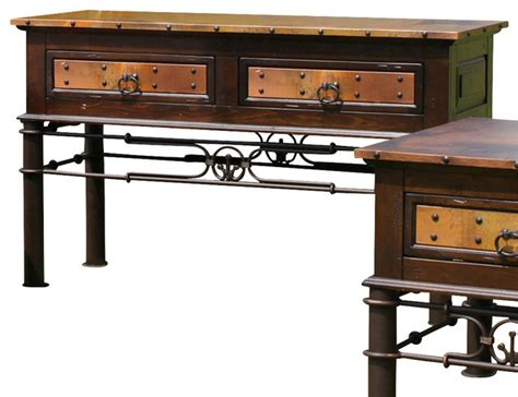 Valencia Console Table Artisan Home Valencia Console Table With Copper Top And Iron Base Traditional Console Tables