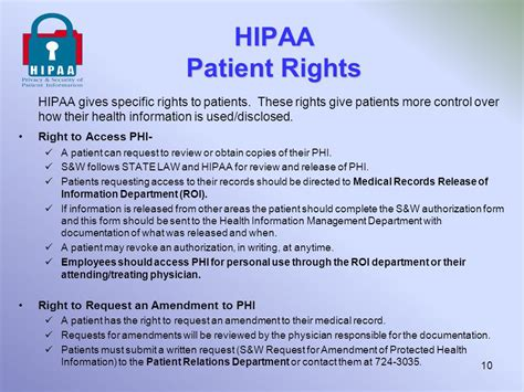 Hipaa Privacy Rights Privacy Security Of Patient Information Ppt