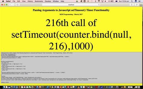 Tutorial Javascript Settimeout | binding javascript settimeout arguments primer tutorial