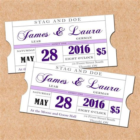 free printable stag tickets colors purple and stag and doe on pinterest