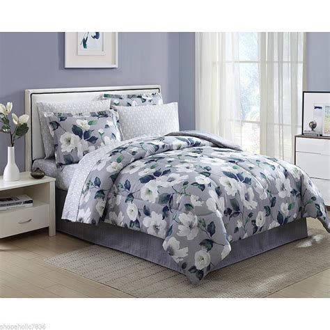 Beautiful Bed Sets Beautiful Floral 8 Complete Bed Set Gray Grey White Flowers Garden Comforters Sets