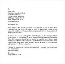 Resignation Letter Company by Sle Resignation Letter Format 9 Free Documents In Pdf Word