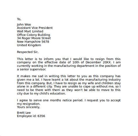 Resignation Letter It Company Sle Resignation Letter Format 9 Free Documents In Pdf Word