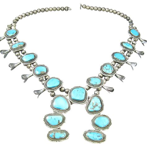 american navajo sterling and turquoise squash