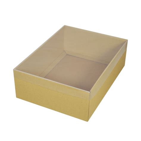 Clear Box No20 a4 cardboard gift box brown 100mm high with clear lid