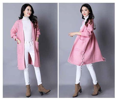 Sweater Rajut Korea Jaket Rajut Murah Rajut Wanita Pink Murah sweater cardigan rajut import murah 2018 model terbaru