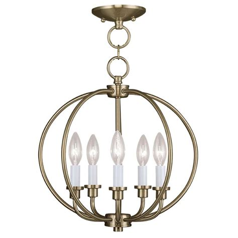 Titan Lighting Williamsport 4 Light Vintage Brass Patina Antique Brass Flush Mount Ceiling Light