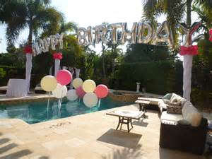 pool theme decorations birthday balloon arch a swimming pool backyard