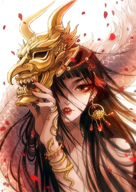 anime fantasy girl mask demon petals long hair wallpaper