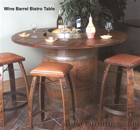 Barrel Bistro Table Oak Wine Barrel Bistro Table Set