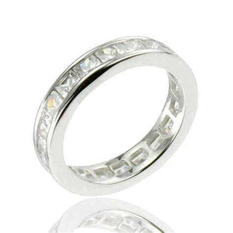 princess cut cz cubic zirconia eternity sterling silver
